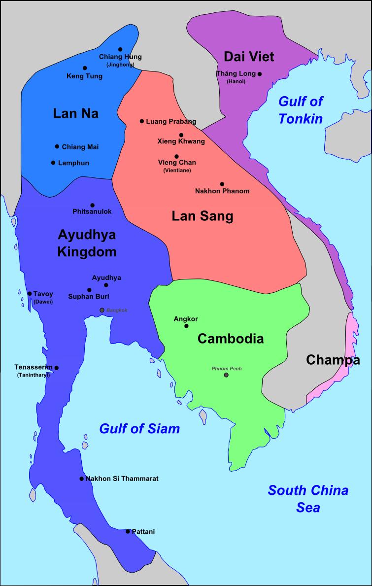 Карта Сиама в 16 веке